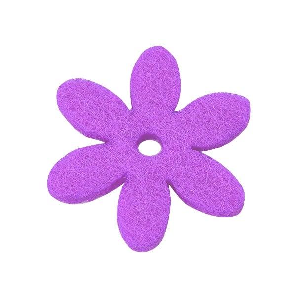 Деко фигурка цвете с отвор, филц Деко фигурка цвете с отвор, филц, 25 mm, виолетово
