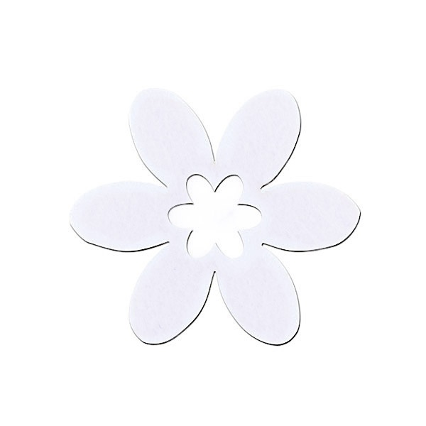 Деко фигурка цвете в цвете, филц Деко фигурка цвете в цвете, филц, 40 mm, бяло
