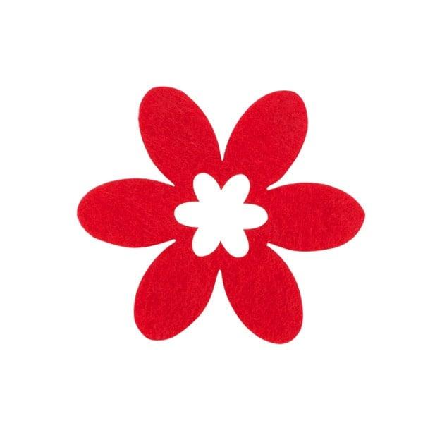 Деко фигурка цвете в цвете, филц Деко фигурка цвете в цвете, филц, 40 mm, червено