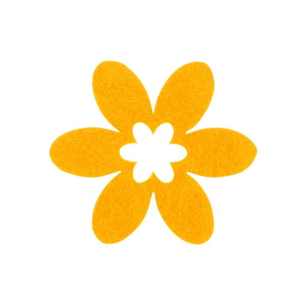 Деко фигурка цвете в цвете, филц Деко фигурка цвете в цвете, филц, 40 mm, жълто