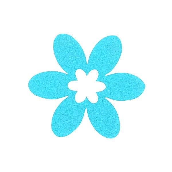 Деко фигурка цвете в цвете, филц Деко фигурка цвете в цвете, филц, 40 mm, небесно синьо