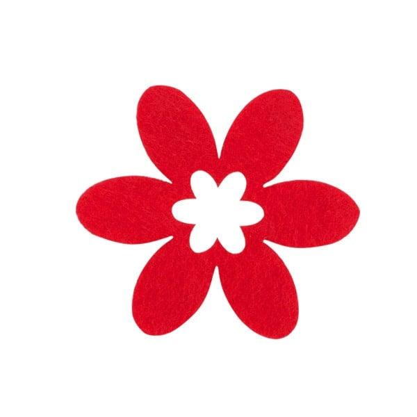 Деко фигурка цвете в цвете, филц Деко фигурка цвете в цвете, филц, 45 mm, червено