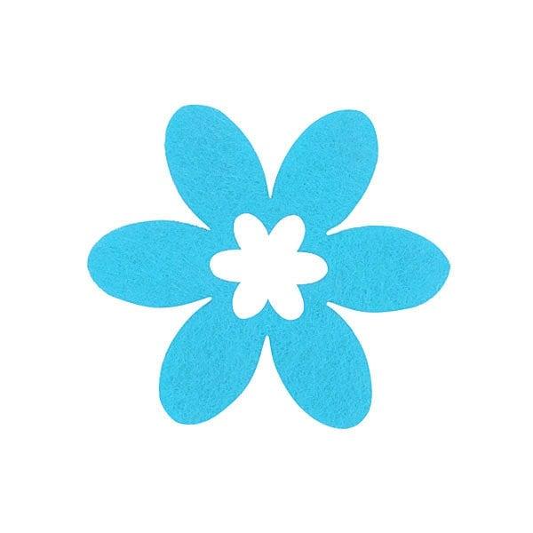 Деко фигурка цвете в цвете, филц Деко фигурка цвете в цвете, филц, 45 mm, небесно синьо