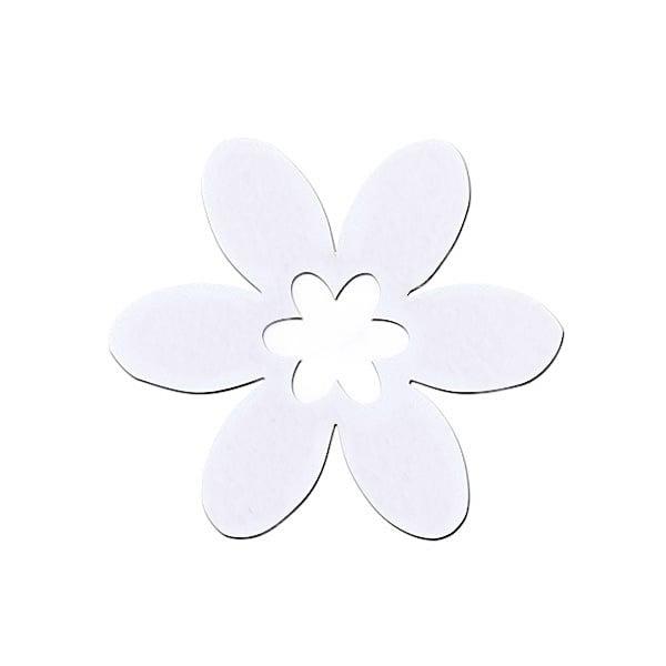 Деко фигурка цвете в цвете, филц Деко фигурка цвете в цвете, филц, 55 mm, бяло