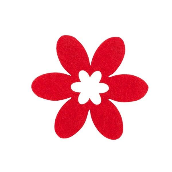 Деко фигурка цвете в цвете, филц Деко фигурка цвете в цвете, филц, 55 mm, червено