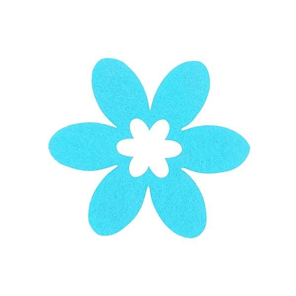 Деко фигурка цвете в цвете, филц Деко фигурка цвете в цвете, филц, 55 mm, небесно синьо