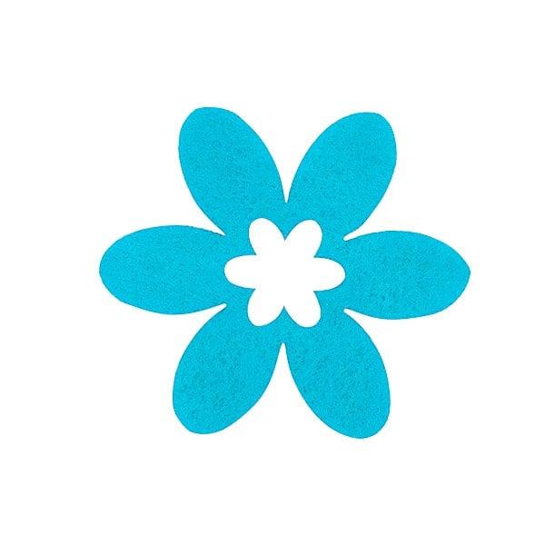 Деко фигурка цвете в цвете, филц Деко фигурка цвете в цвете, филц, 55 mm, турско синьо