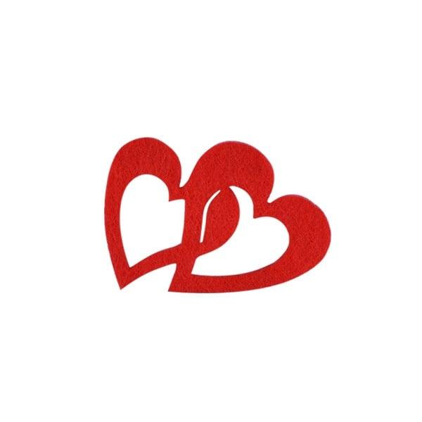 Деко фигурка две сърца, Filz Деко фигурка две сърца, Filz, 30 mm, червени