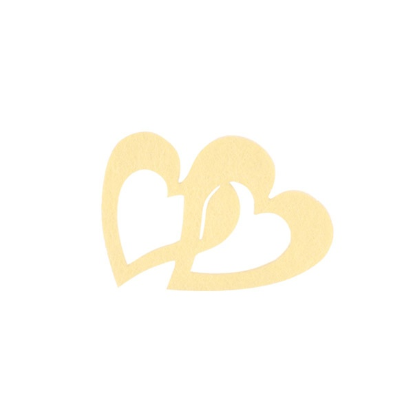 Деко фигурка две сърца, Filz Деко фигурка две сърца, Filz, 30 mm, кремави