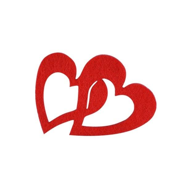 Деко фигурка две сърца, Filz Деко фигурка две сърца, Filz, 40 mm, червени