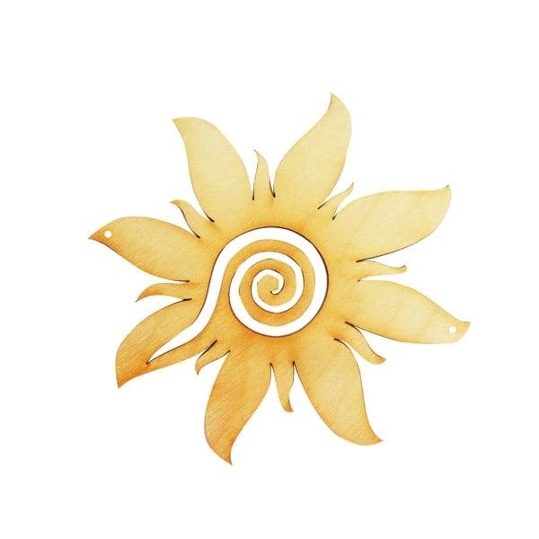 Деко фигурка греещо слънце със спирала, дърво, 200 mm