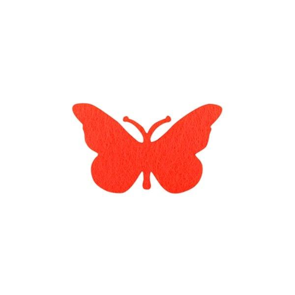 Деко фигурка пеперуда от филц  Деко фигурка пеперуда, Filz, 30 mm, червена