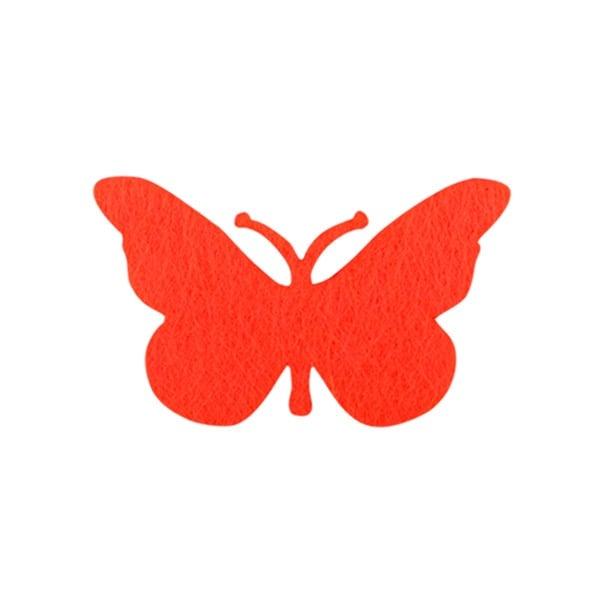 Деко фигурка пеперуда от филц  Деко фигурка пеперуда, Filz, 50 mm, червена