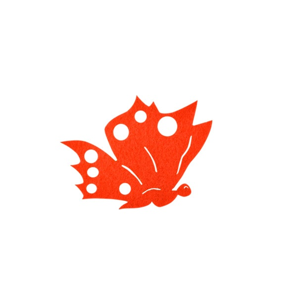 Деко фигурка пеперуда от филц  Деко фигурка пеперуда отстрани, Filz, 50 mm, оранжева