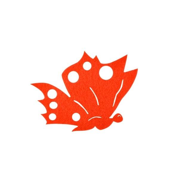 Деко фигурка пеперуда от филц  Деко фигурка пеперуда отстрани, Filz, 60 mm, оранжева