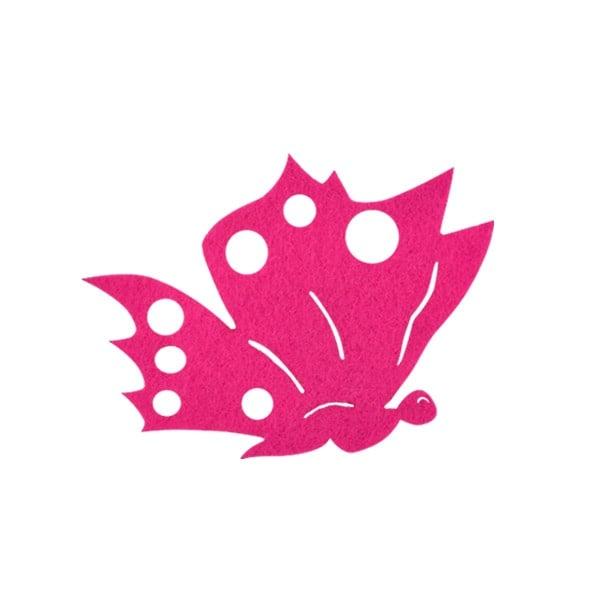 Деко фигурка пеперуда от филц  Деко фигурка пеперуда отстрани, Filz, 60 mm, прасковена