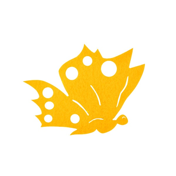Деко фигурка пеперуда от филц  Деко фигурка пеперуда отстрани, Filz, 80 mm, светло жълта