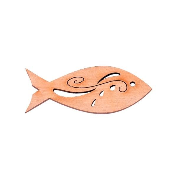 Алуминиево фолио, 20 х 30 см / 0,15 мм, 3 бр., двуцветно - червено и сребристо Деко фигурка рибка с филигран, дърво, 45 mm