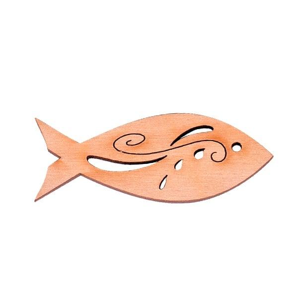Деко фигурка рибка с филигран, дърво, 60 mm