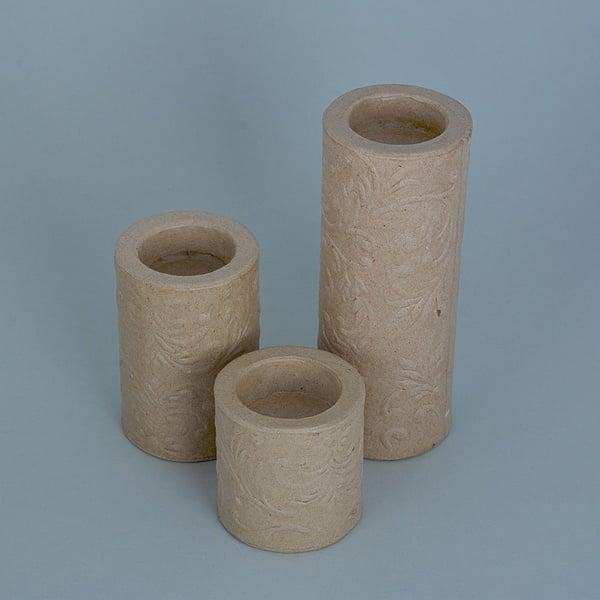 Декоративна поставка от папие маше, с орнаменти, ф 6 x 6 x 6 / 9 / 15 см, 3 бр.