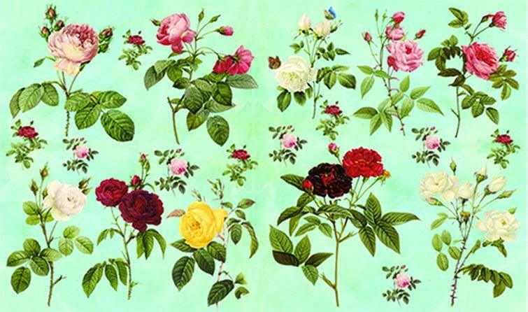 Декупажна хартия, 60 gr/m2, 33 x 48 cm, 1л, Диви рози