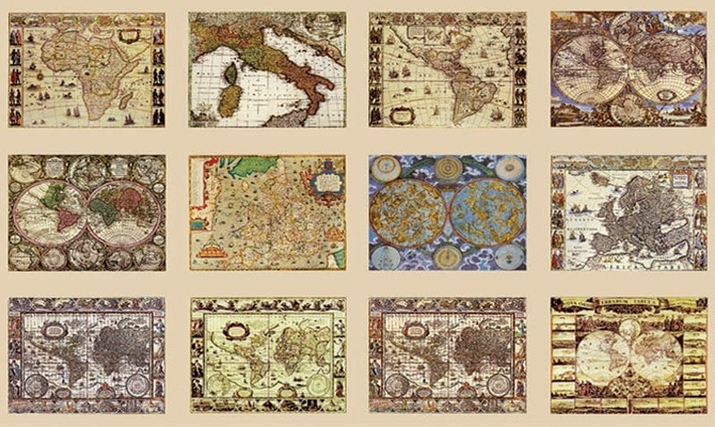 Декупажна хартия, 60 gr/m2, 33 x 48 cm, 1л, Исторически карти