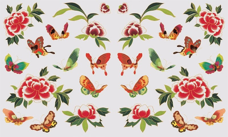 Декупажна хартия, 60 gr/m2, 33 x 48 cm, 1л, Пеперуди и цветя