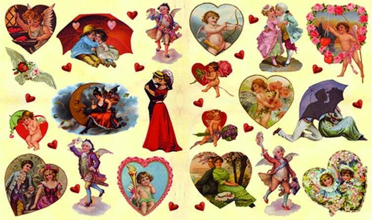 Декупажна хартия, 60 gr/m2, 33 x 48 cm, 1л, Поздрави с любов
