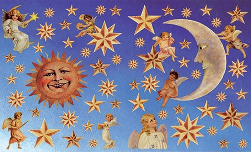Декупажна хартия, 60 gr/m2, 33 x 48 cm, 1л, Слънце, луна, звезди