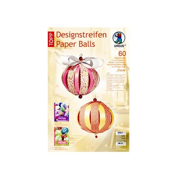 Дизайнерски комплект Paper Balls Claire, за 8 хартиени топки, червени/ жълти микс