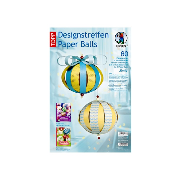 Дизайнерски комплект Paper Balls, Emily, за 8 хартиени топки, жълти/сини микс