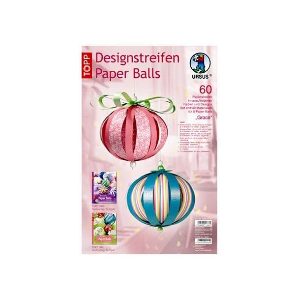 Дизайнерски комплект Paper Balls, Set Grace, за 8 хартиени топки, роза микс