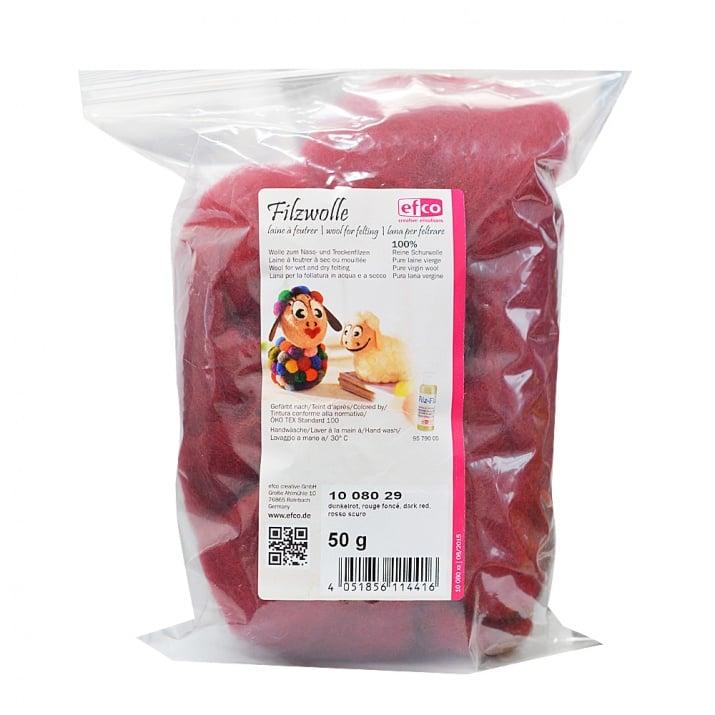 Филц от чиста овча вълна, 50гр. Вълна филц техника, Wool-virgin, 50 g, тъмно червена