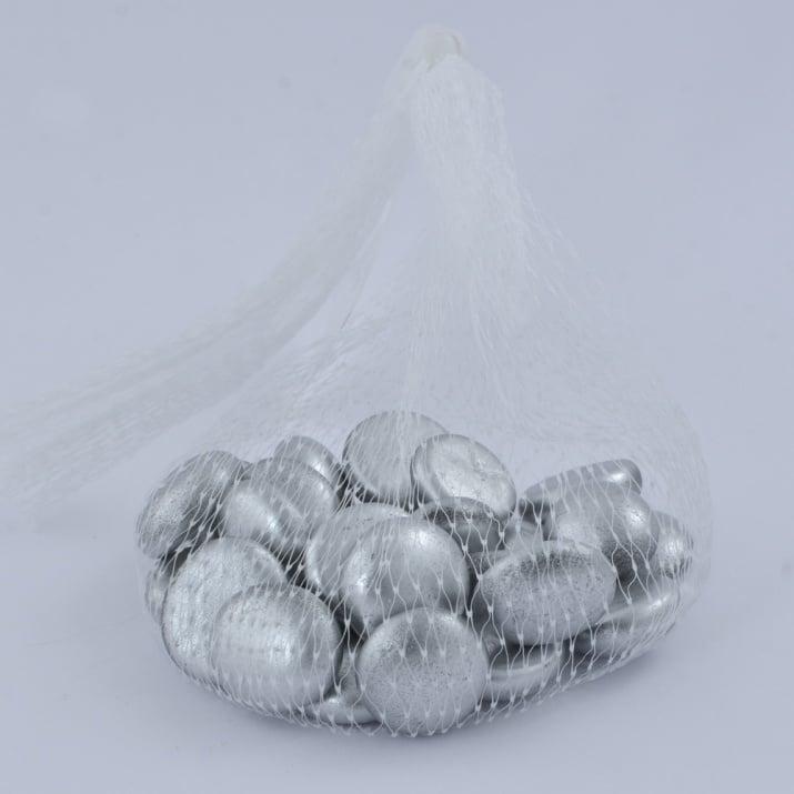 Стъклени камъчета, Glas-Nuggets, 18-20 MM, 100 G / 20-30 БР. Стъклени камъчета, Glas-Nuggets, 18-20 mm, 100 g / 20-30 бр., сребро