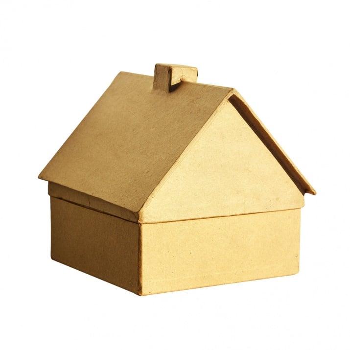 Къщичка - кутия, папие маше, 15 x 16 x 15,5 cm