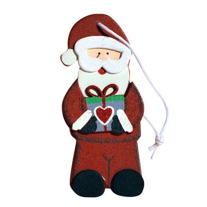Дървена деко фигура за закачане, 6,5 x 9 cm, Дядо Коледа