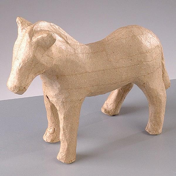 Фигура от папие маше, зебра, 13,5 x 4 x 11,5 cm