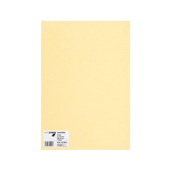 Филц текстилен, 3,5 mm, 30 x 45 cm, 1л в пакет Филц текстилен, 3,5 mm, 30 x 45 cm, 1л в пакет, кремав