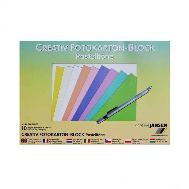 Блок фото картон, 300 g/m2, 24 x 34 cm, 1 блок, пастелни цветове