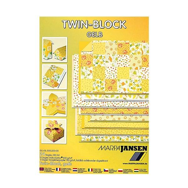 Блок 8л.цветна хартия/16л.варио картон, А4, жълти тонове