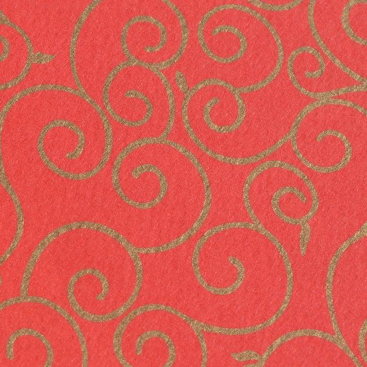 Фото картон, 220 g/m2, 50 x 69 cm, 1л, червен със златни арабески