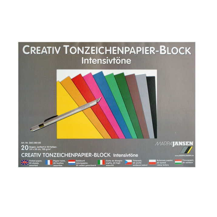 Блок 20л.цветен картон, 130 g/m2, 24х34 cm, интензивни цветове сив
