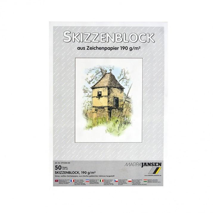Хартия за скици, 190 g/m2 Хартия за скици, 190 g/m2, А5, 50л в блок, бяла