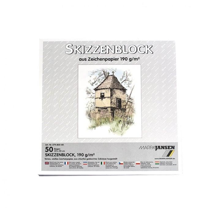 Хартия за скици, 190 g/m2 Хартия за скици, 190 g/m2, 20 x 20 cm, 50л в блок, бяла