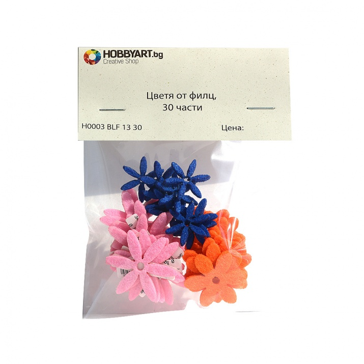 Комплект деко фигурки Цветя от филц, 30 части