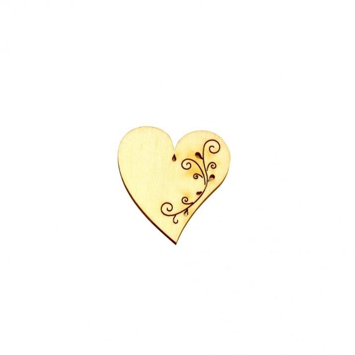 Деко фигурка сърце с филигран. дърво. 30 mm