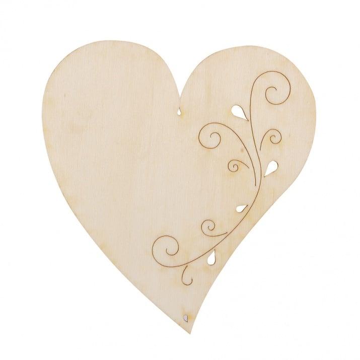 Деко фигурка сърце с филигран с 2 отвора. дърво. 150 mm
