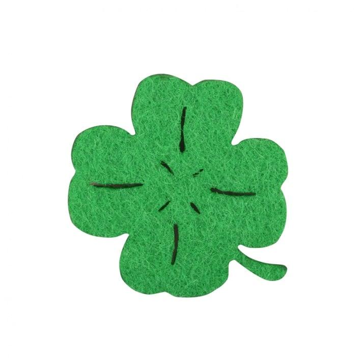 Деко фигурка четирилистна детелина, Filz, 30mm, зелен
