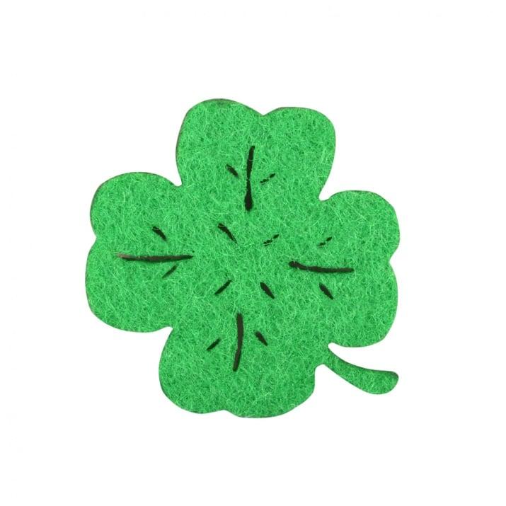 Деко фигурка четирилистна детелина, Filz, 20 mm, зелен