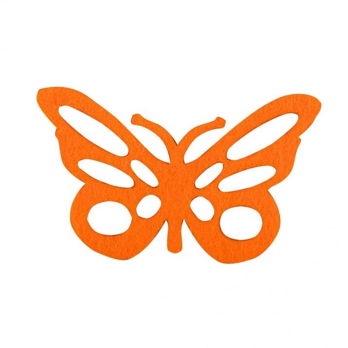 Деко фигурка пеперуда от филц  Деко фигурка пеперуда с фигури. Filz. 60 mm. жълта